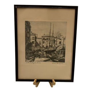 """""""The Old Boat Works"""" Black and White Print by Lionel Barrymore For Sale"""