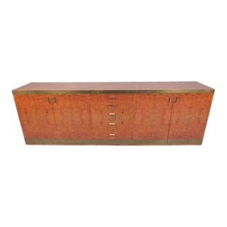 Willy Rizzo Style Brass and Burl Wood Credenza For Sale
