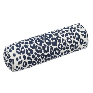 Contemporary Schumacher Iconic Leopard Bolster Pillow in Ink For Sale
