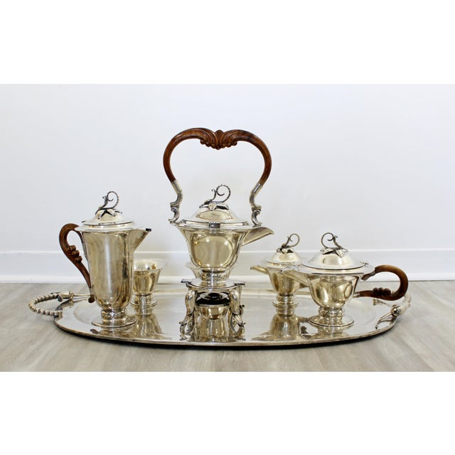 1970s Mid Century Modernist Sterling Silver Tea Coffee Set Mexico Jensen Style - Set of 7 For Sale - Image 5 of 10