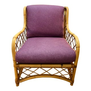 1970s Vintage Upholstered Rattan Bamboo Wingback Chair For Sale