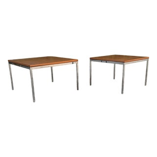 Knoll Steel and Floating Walnut End Tables - a Pair For Sale
