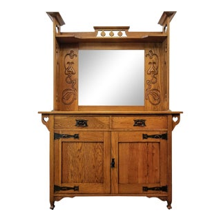 Antique Shapland & Petter William Cowie Arts & Crafts English Oak Mirrored Sideboard For Sale