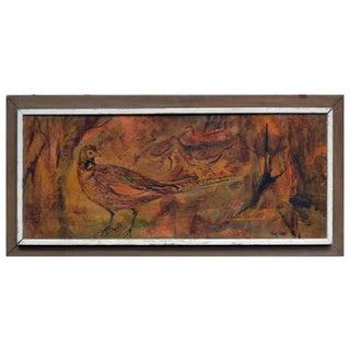 Mid-Century Modern Pheasant Painting