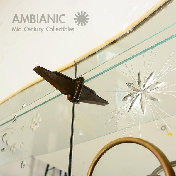 Italian Full Length Mirror with Shelf & Hooks After Fontana Arte For Sale - Image 10 of 11