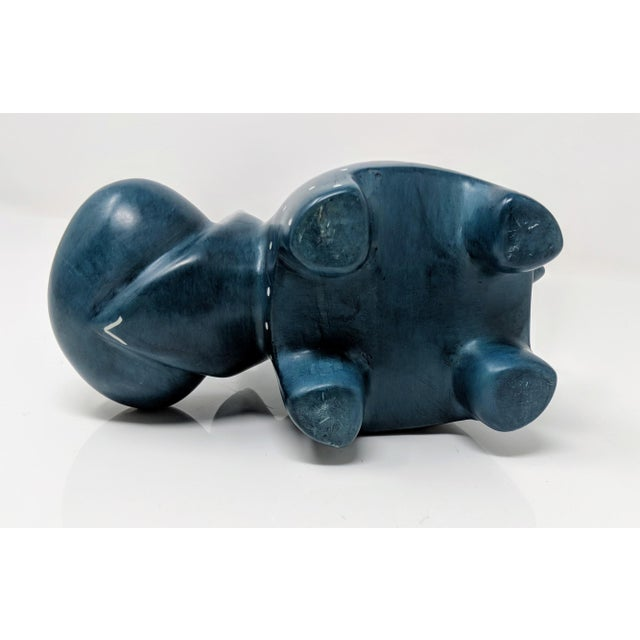 Soapstone Hand Carved Navy Blue Soapstone Hippopotamus For Sale - Image 7 of 8
