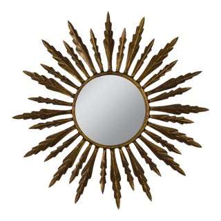Spanish 1940s Gilt Metal Sunburst Mirror For Sale