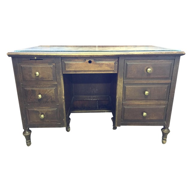 Antique Distressed Wooden Desk - Image 1 of 4