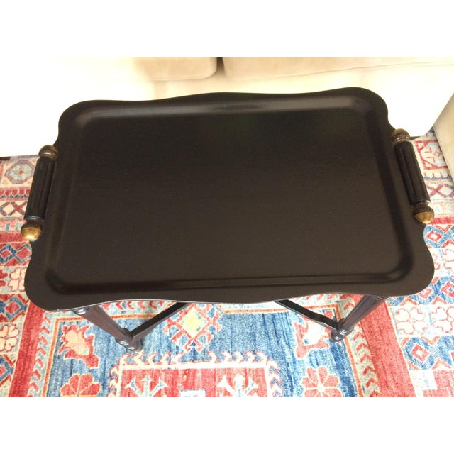 Black Tray Table With Gold Accents - Image 4 of 6