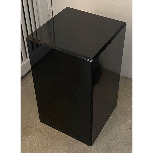 """Plastic Vintage Pedestal Black Lucite 20.5"""" High For Sale - Image 7 of 8"""