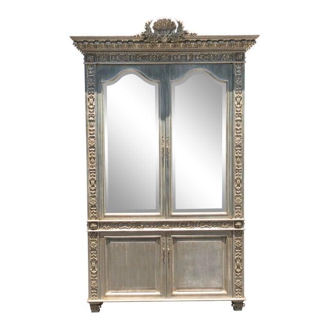 Huge Carved Designer Silver-Leaf Showcase Cabinet For Sale