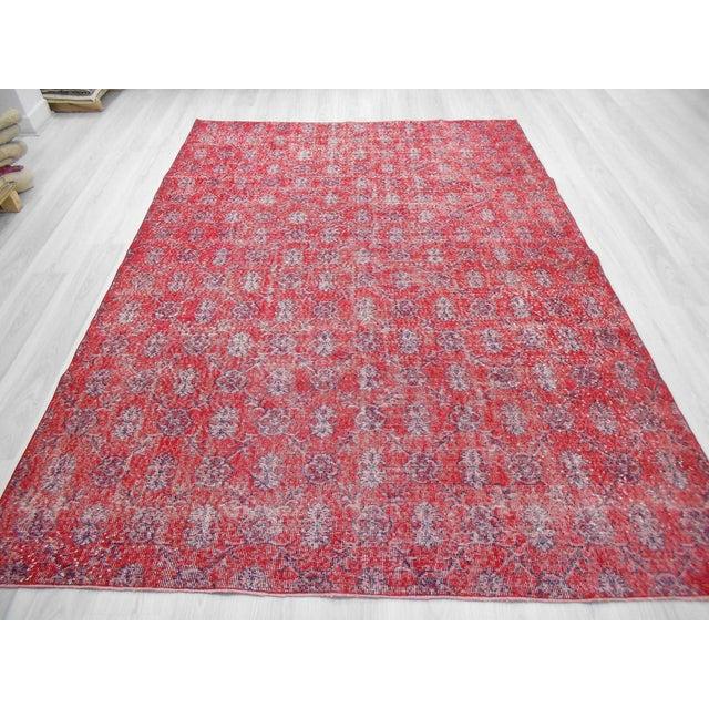 Hand Knotted Vintage Red Floral Designed Turkish Art Deco Rug - Image 3 of 6