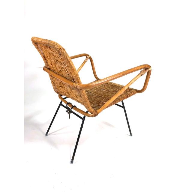 Metal Mid Century Italian Rattan Lounge Chair For Sale - Image 7 of 12