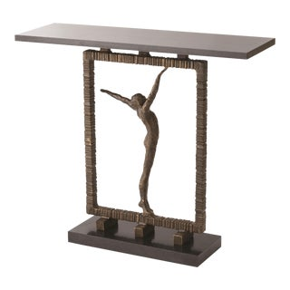 Figural Bronzed Iron and Granite Console Table For Sale