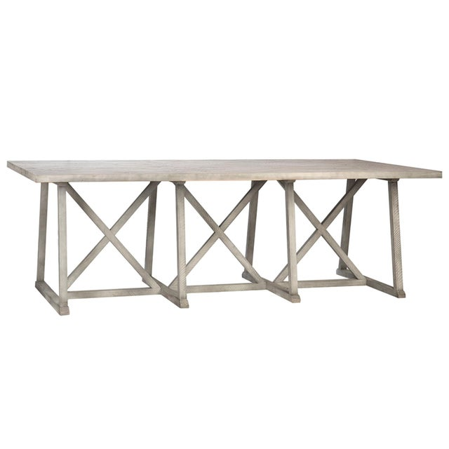 Washed Wood Farmhouse Dining Table For Sale - Image 4 of 4