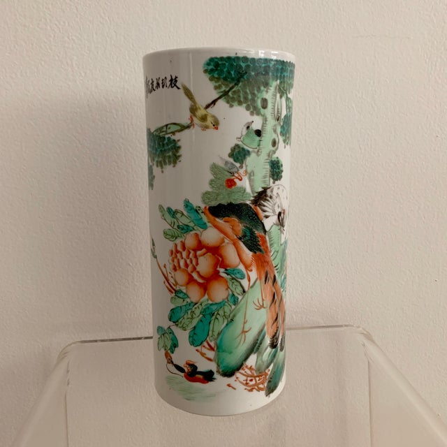 Antique 19th Chinese Hat Stand Cylinder Vase For Sale - Image 13 of 13