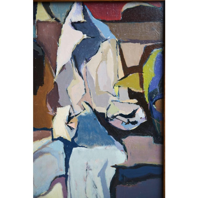 1950s 1956 Mid-Century Modern Abstract Oil Painting Signed Trump For Sale - Image 5 of 7