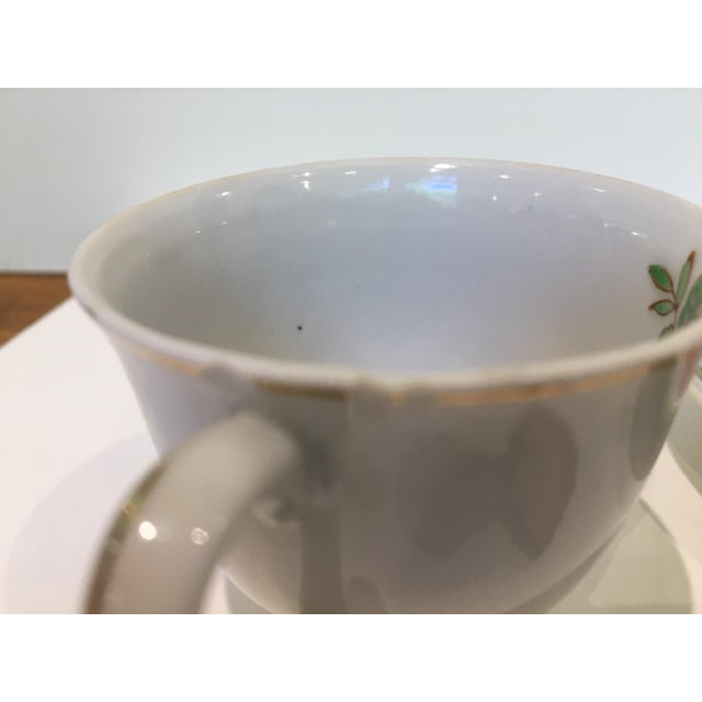 Ceramic Japanese Tea Cup and Saucers - 5 Piece Set For Sale - Image 7 of 9