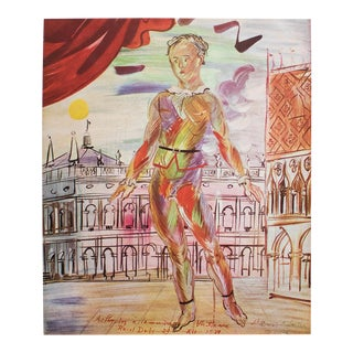 """1940s Raoul Dufy """"Harlequin"""" First Edition Period Swiss Lithograph For Sale"""