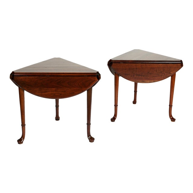 Pair of Vintage Statton Drop Leaf Tea Tables of Solid Cherry For Sale