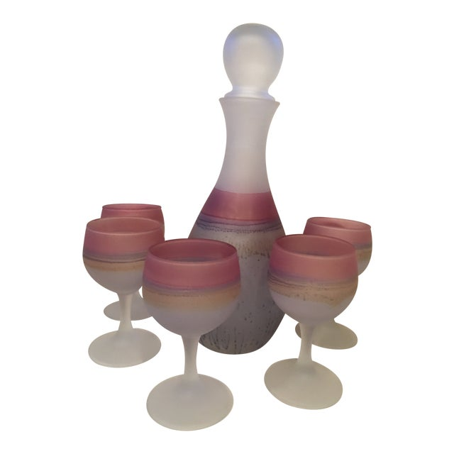 1960s Mid-Century Modern Israeli Art Glass Hebron Decanter Set - 6 Pieces For Sale
