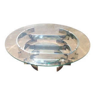 Paul Mayen Mid-Century Aluminum & Glass Coffee Table For Sale
