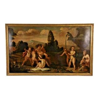 Antique Painting, Italian Putti Celebrating Bacchanalia For Sale