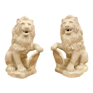 Transitional White Crackle Glaze Lions - a Pair For Sale