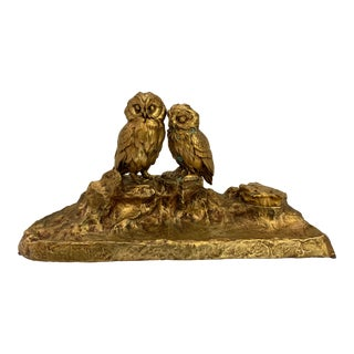 1920s Bronze Owl Inkwell For Sale