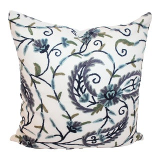 Blue & Green Crewelwork Pillow For Sale