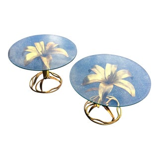 Hollywood Regency Arthur Court Lily Side Tables - a Pair For Sale