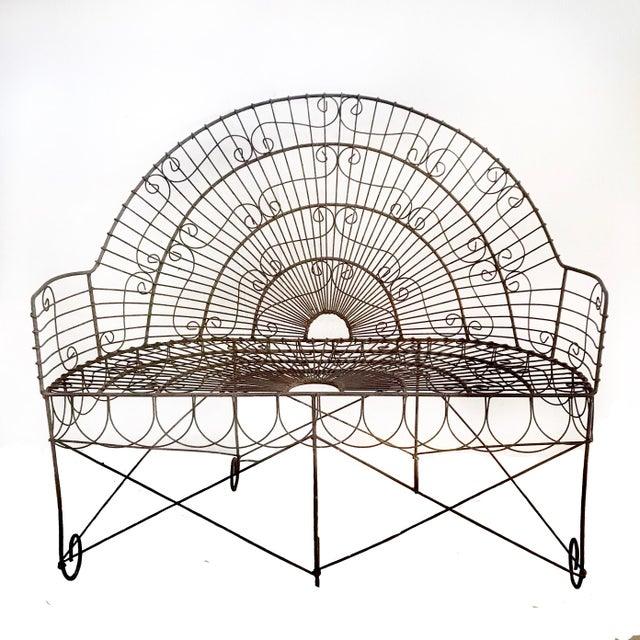 Late 19th Century French Wire Iron Garden Bench For Sale - Image 10 of 10
