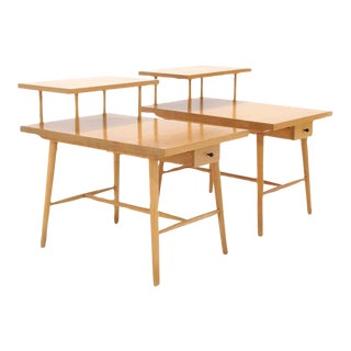 Pair of Paul McCobb Step Side Tables With Drawer From the Predictor Group For Sale