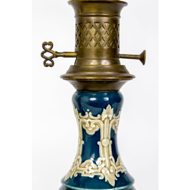 Metal 19th C. Dark Turquoise Ceramic Converted Kerosine Lamps - a Pair For Sale - Image 7 of 9