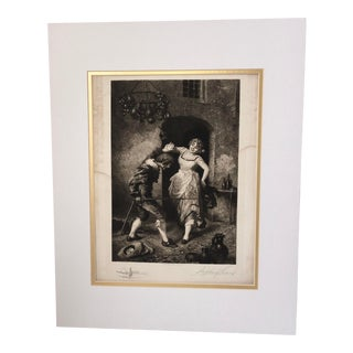 Late 19th Century 1888 Stephen J Ferris Lovers Signed Etching For Sale