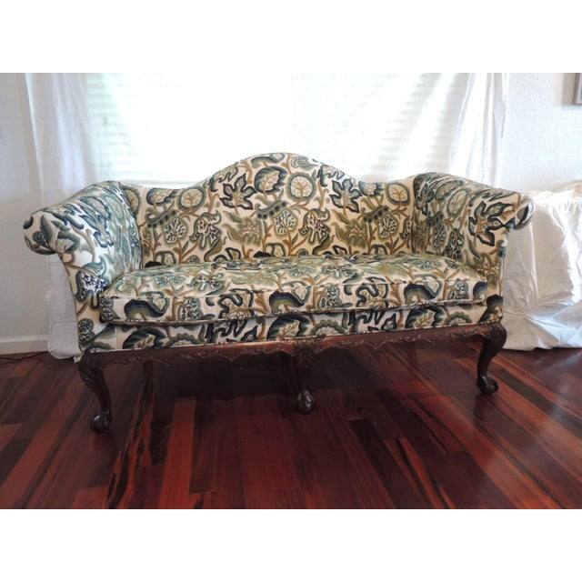 Crewel-Work Green and Yellow Camel Back Upholstered Settee From Century Furniture For Sale - Image 13 of 13