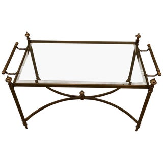 La Barge Classic Brass and Glass Coffee Table For Sale