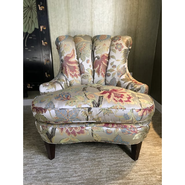 Silk 1940s Pullman Armless Floral Silk Upholstered Slipper Chairs - a Pair For Sale - Image 7 of 13