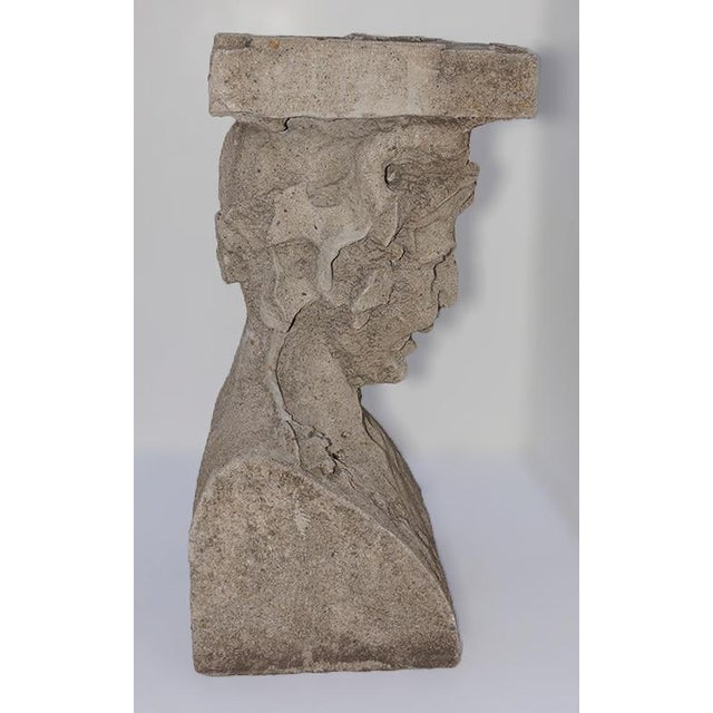 Late 19th Century Cast Stone Pedestals With Figural Bust and Foliate Design - a Pair For Sale - Image 9 of 11