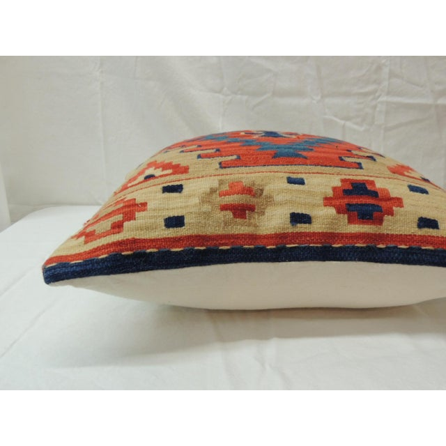 Vintage Orange and Blue Kilim Decorative Pillow For Sale - Image 4 of 6