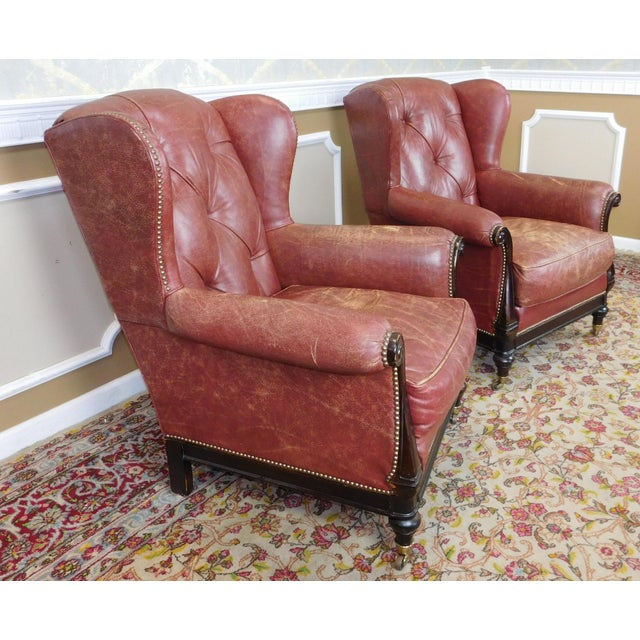 Lillian August Leather Wing Back Armchairs - A Pair - Image 9 of 10