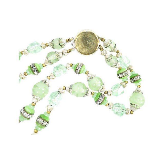 Glass Green Art Glass & Crystal Necklace, 1950s For Sale - Image 7 of 8