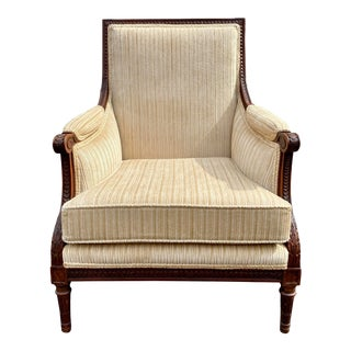 French Louis Style Carved Giltwood Beige Bergère Armchair For Sale