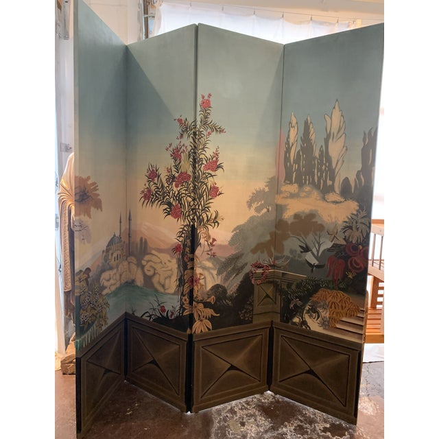 Vintage Maitland Smith Hand Painted 4 Panel Folding Screen For Sale - Image 10 of 13