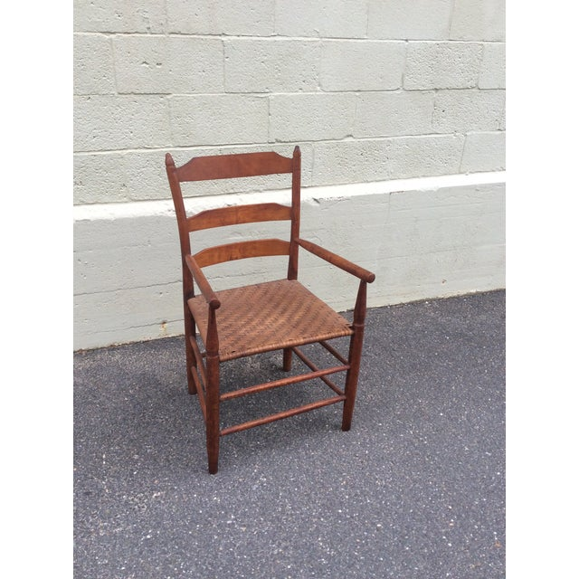 Wood Early 19th Century Antique New England Ladder Back Arm Chair For Sale - Image 7 of 7