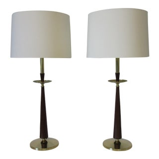 Stiffel Brass and Faux Rosewood Table Lamps - a Pair For Sale