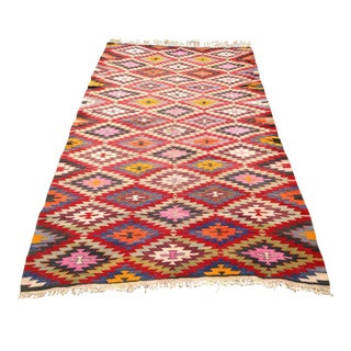 "Vintage Turkish Kilim Rug - 67"" x 116"" For Sale"