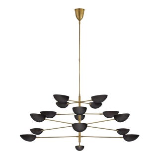 Modern Graphic Grande Chandelier in Black and Brass