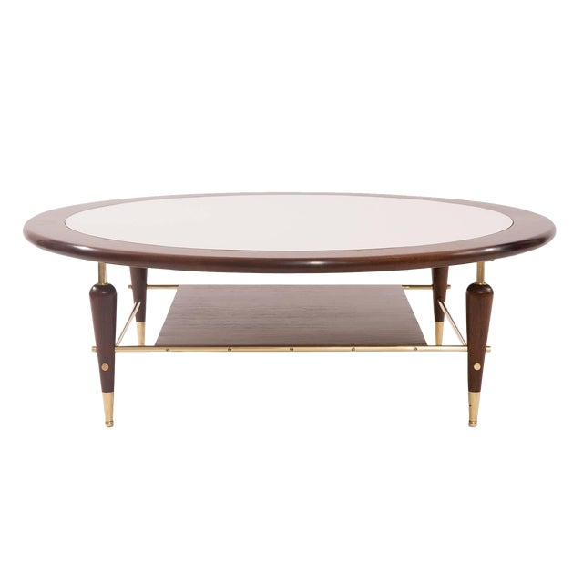 Fabulous Walnut Laminate and Brass Cocktail Table For Sale