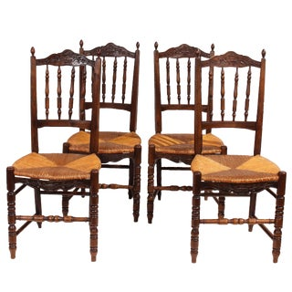 1900s French Country Walnut Rush Seat Chairs- Set 4 For Sale
